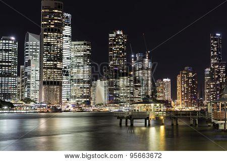 Brisbane City nightscape and Kangaroo Point Ferry Terminal