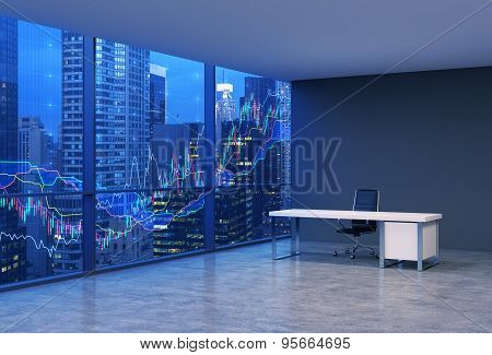 A Workplace In A Modern Corner Panoramic Office With New York Evening View And Forex Chart. A Black