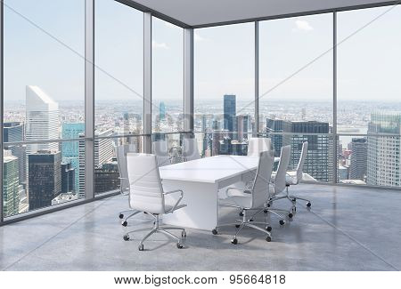 Panoramic Conference Room In Modern Office In New York City. White Chairs And A White Table. 3D Rend