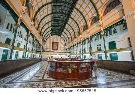 Ho Chi Minh, Vietnam- May, 26, 2015 : Interior In Postal Center, An Ancient French Post Office Now B