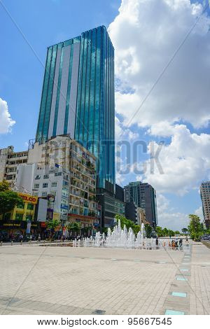 Ho Chi Minh City, Vietnam - May 27, 2015 : Nguyen Hue Pedestrian Street With Times Square View.