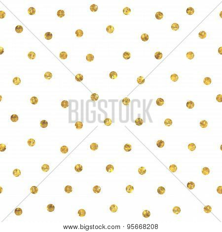 Seamless polka dot golden pattern.