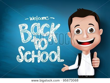 3D Realistic Genius Student with Backpack Happy Showing