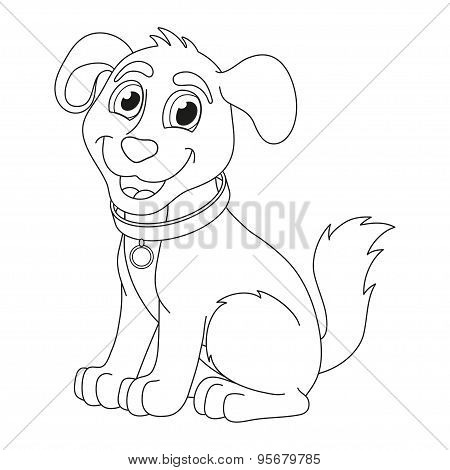 Cartoon puppy, coloring book page for children
