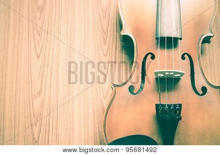 Violin On Wood Background