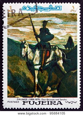 Postage Stamp Fujeira 1967 Don Quixote And Sancho Panza