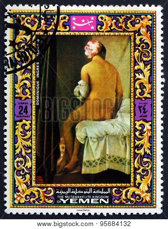 Postage Stamp Yemen 1970 Seated Woman, By Dominique Ingres