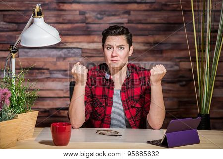 Outraged Woman With Clenched Fists