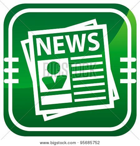 Newspaper Green Icon. Vector Illustration.