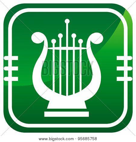 Lyra. Single Green Icon.