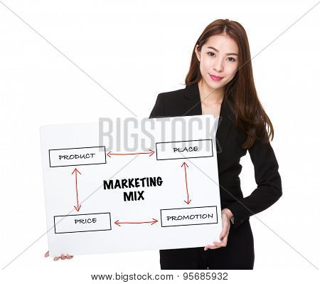 Business woman with a board for marketing mix concept