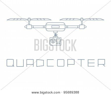 quadrocopter dron with action camera icon. simple line style vector illustration