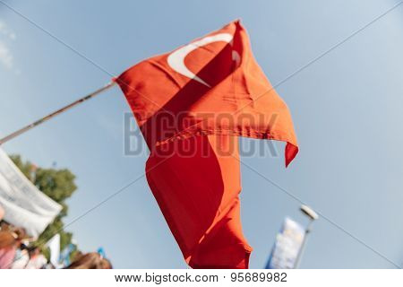 Turkey flag at protest
