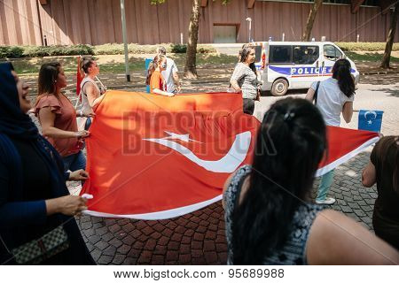 Protest With Large Turkey Flag