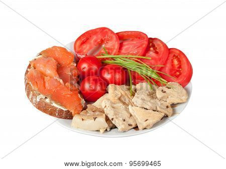 Proper Nutrition For Athletes Isolated On White With Clipping Path