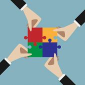 Four hands holding assembled multicolor jigsaw puzzle. Teamwork solution unity partnership concept. EPS 10 vector illustration no transparency poster