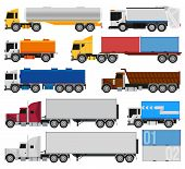 Trucks and trailers on a white background. Delivery and shipping cargo trucks and semi-trucks. For infographics or design poster