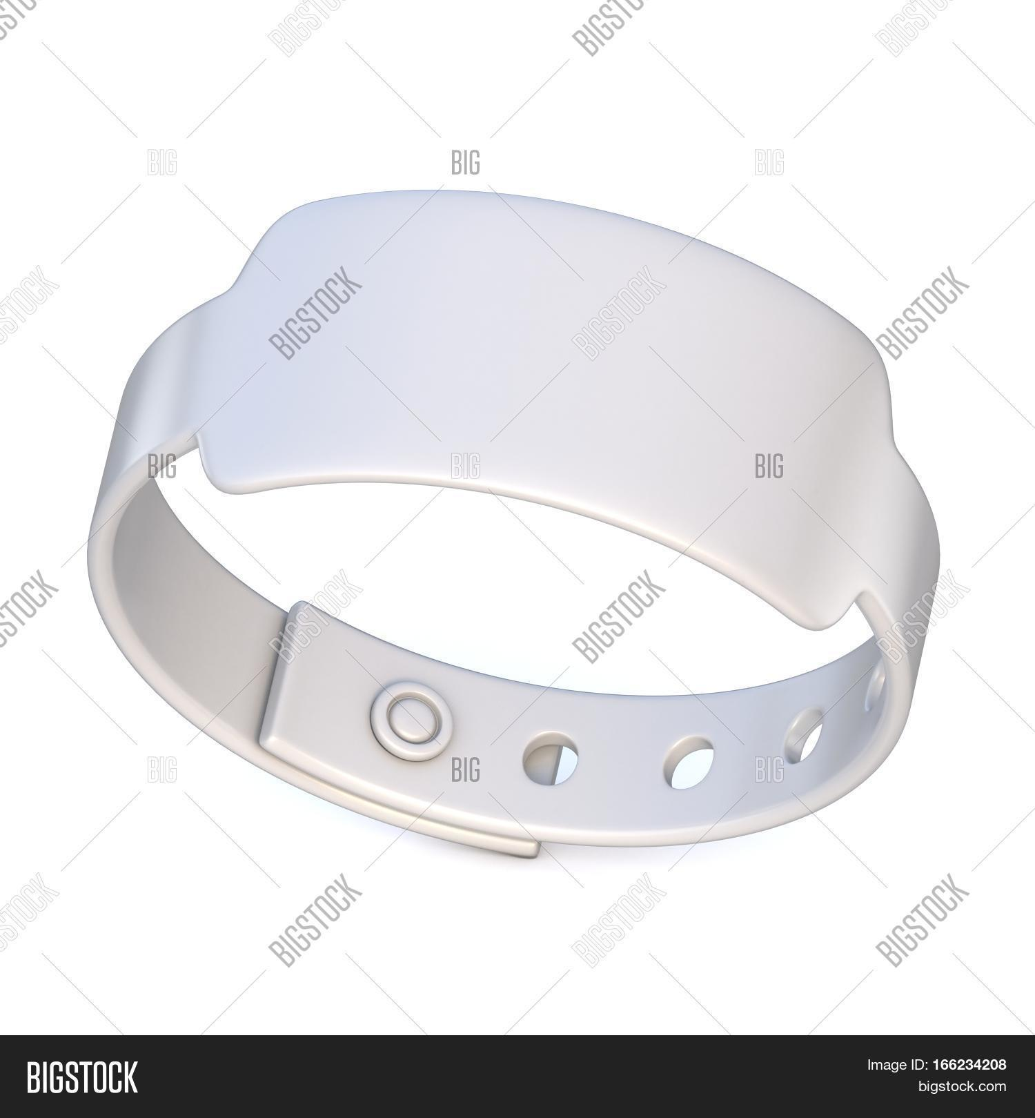 White Rubber Bracelet Closed Render Ilration Isolated On Background