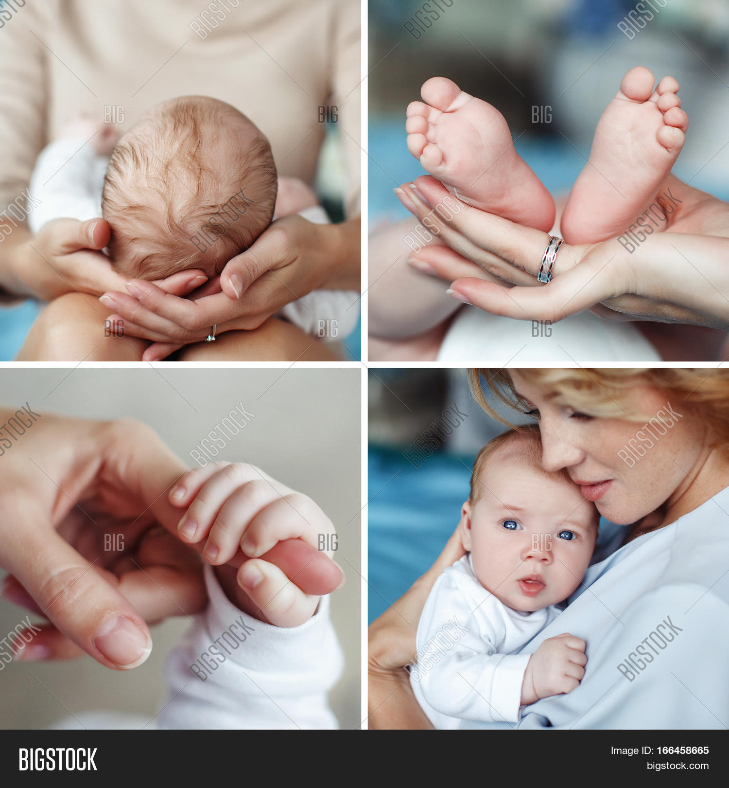 a collage of four photos of the mother and newborn childthe mother supports the