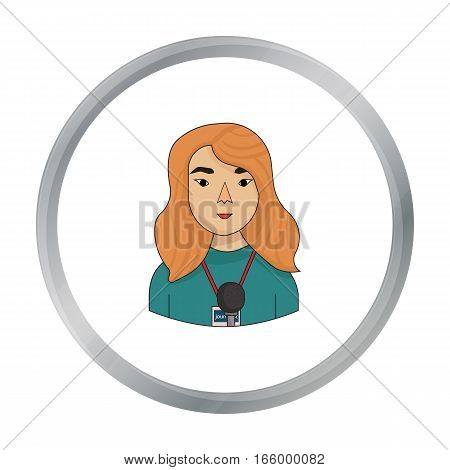 Television reporter icon in cartoon style isolated on white background. People of different profession symbol vector illustration. - stock vector