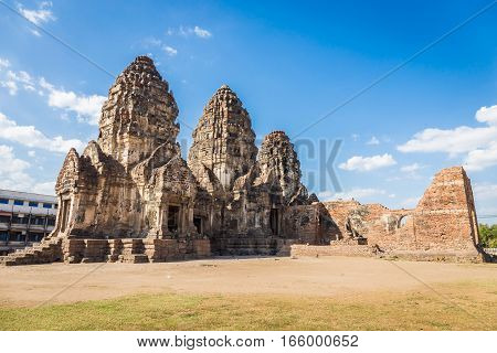 Phra Prang Sam Yot temple ancient architecture in Center Lopburi Thailand