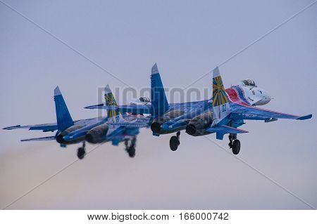 Kubinka,Moscow Region, Russia - December 07,2016: Su-27 aerobatic team Russian Knights taking off.