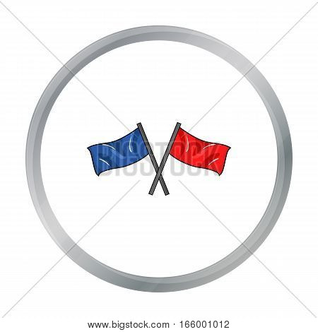 Red and blue flags icon in cartoon design isolated on white background. Paintball symbol stock vector illustration. - stock vector