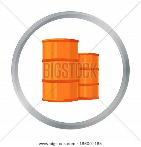 Oil barrels icon in cartoon style isolated on white background. Oil industry symbol vector illustration. - stock vector