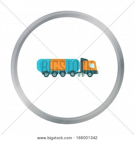 Oil tank trucker icon in cartoon style isolated on white background. Oil industry symbol vector illustration. - stock vector