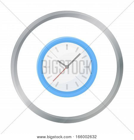 Office clock icon in cartoon style isolated on white background. Office furniture and interior symbol vector illustration. - stock vector
