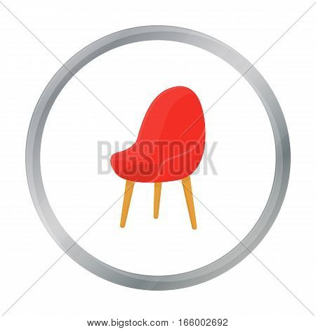 Red oval chair icon in cartoon style isolated on white background. Office furniture and interior symbol vector illustration. - stock vector