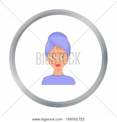 Woman with acne icon in cartoon style isolated on white background. Skin care symbol vector illustration. - stock vector