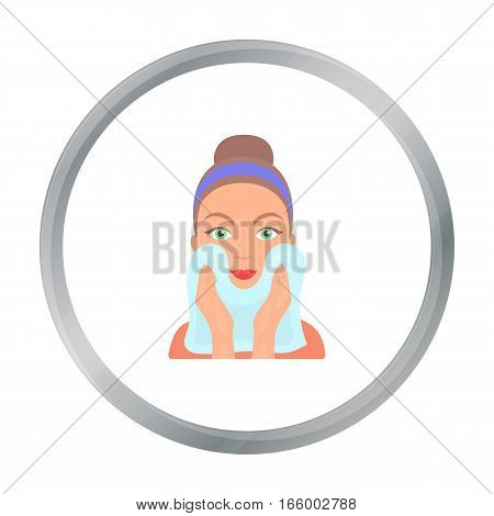 Cleaning of face skin icon in cartoon style isolated on white background. Skin care symbol vector illustration. - stock vector