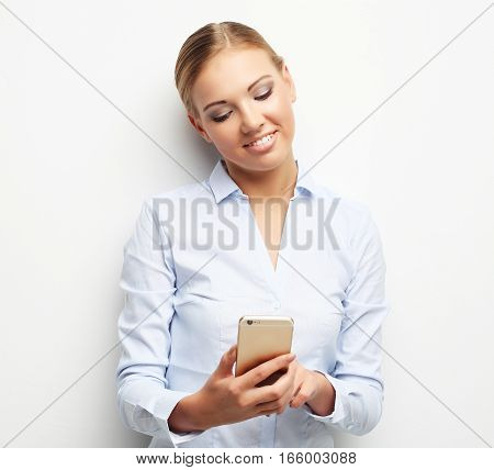 lifestyle, business  and people concept: Portrait of smiling business woman phone talking, over white background