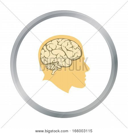 Brain icon cartoon. Single education icon vector