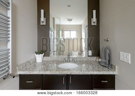 Bright clean modern brown bathroom. Interior design.