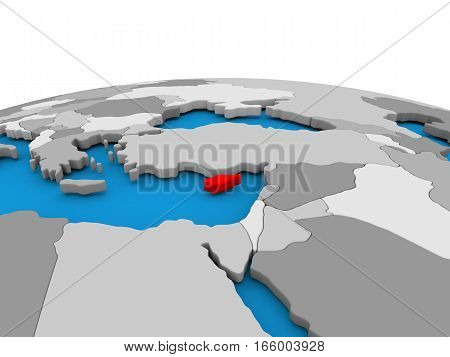 Cyprus On Globe In Red