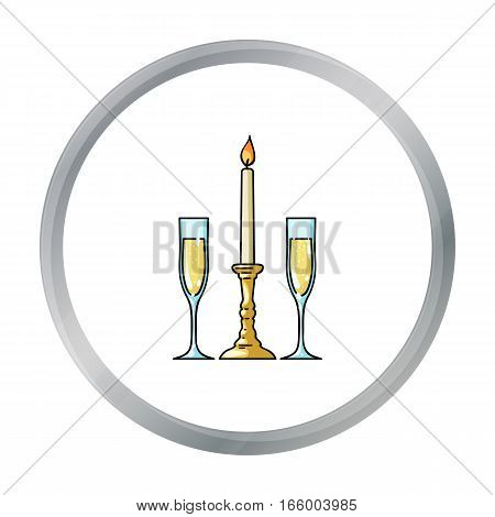 Candle between glasses with champagne icon in cartoon style isolated on white background. Restaurant symbol vector illustration. - stock vector