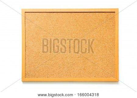 Brown cork board on white background for memo remind
