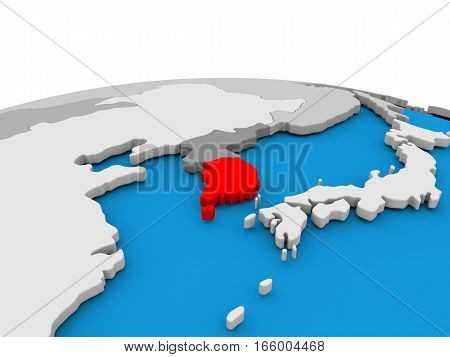 South Korea On Globe In Red
