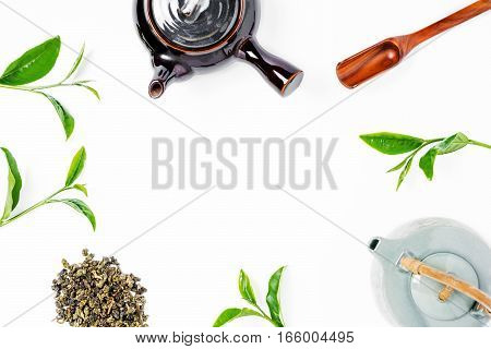 Green Tea In Tea Pot On White Background. Top View