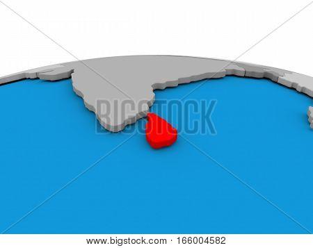 Sri Lanka On Globe In Red