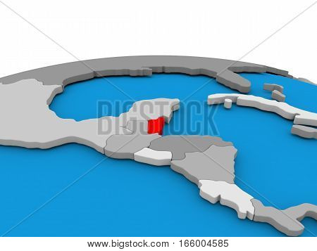 Belize On Globe In Red