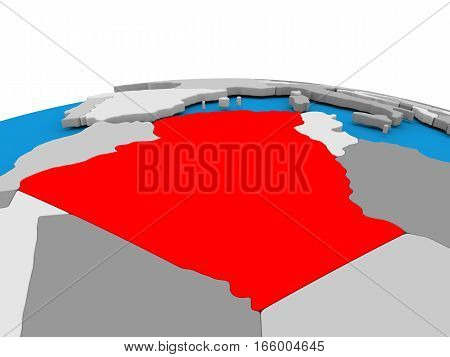 Algeria On Globe In Red