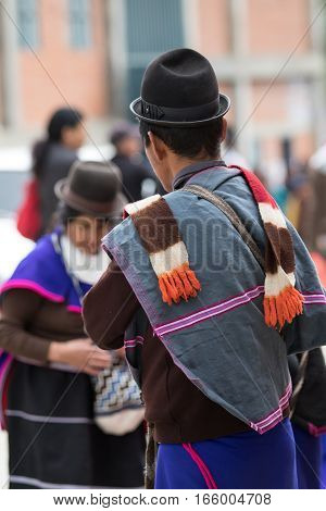 September 6 2016 Silvia Colombia: Guambiano men standing on the street wearing traditional outfit