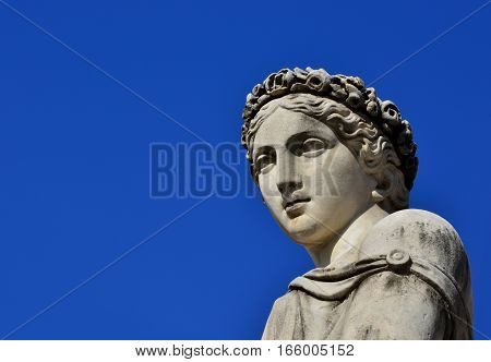 Ancient Roman or Greek goddess marble statue (with copy space)