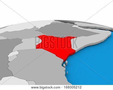 Kenya On Globe In Red