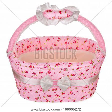 Pink Basket Isolated On The White Background
