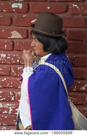 September 6 2016 Silvia Colombia: Bowler hats are part of the traditional wear of the Guambiano indigenous people