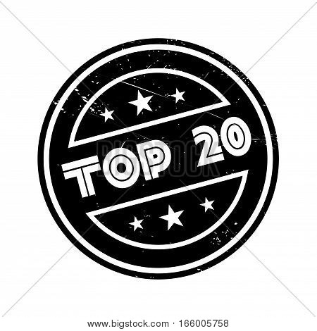 Top 20 rubber stamp. Grunge design with dust scratches. Effects can be easily removed for a clean, crisp look. Color is easily changed.